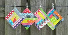 Scrappy Quilt As You Go Coasters...the cutest hot pads ever!!! great scrap buster!!!
