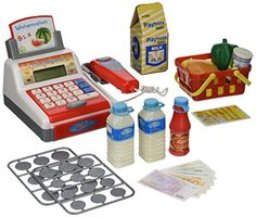My Fun Cash Register Pretend Play Battery Operated Toy Cash Register w/ Working Scanning Action, Real Calculator, Accessories *** You can find out more details at the link of the image.
