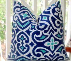 Decorative Pillow Cover - 18x18 Royal Blue White and Teal Aqua Geometric Scroll Pillow Cover- Throw Pillow. $49.00, via Etsy.
