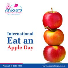 International Eat An Apple Day is celebrated annually on the third Saturday in September. Apples contain no fat, and contain cholestoral-fighting compounds. #Apple #EatAnApple #EatAnAppleDay Ankura Hospital is a chain of state-of-the-art super speciality hospitals for women & children in Hyderabad.