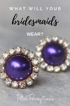 The perfect earrings for a purple and gold wedding! Also available in a silver setting. Purple And Gold Wedding, Purple Gold, Bridesmaid Earrings, Bridesmaid Gifts, Purple Earrings, Pearl Earrings, Bridal Shower Corsages, Gold Wedding Jewelry, Gold Set