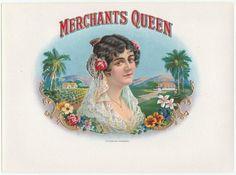 Merchants Queen Inner Cigar Label Pretty Lady, Flowers, Palm Trees, Plantation