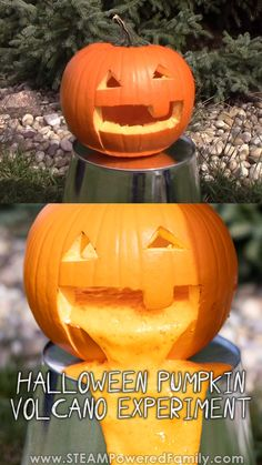 This is Halloween Science Experiment is perfect, messy fun to give your pumpkins one last amazing send off at the end of your Halloween festivities or as part of an outdoor erupting, fun display! This Pumpkin Volcano is amazingly easy… Continue Reading → Halloween Science, Fete Halloween, Halloween Kids, Halloween Pumpkins, Diy Halloween Games, Halloween Festival, Outdoor Halloween, Halloween Halloween, Monster Party