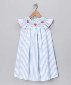 Take a look at this Blue Strawberry Angel-Sleeve Dress - Infant, Toddler & Girls by Velani Classics on #zulily today!