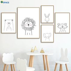 Löwe Kaninchen Bär Waschbär Wandkunst Leinwand Malerei Nordic Poster Und Drucke Kinderzimmer … Lion rabbit bear raccoon wall art canvas painting nordic posters and prints kids room wall pictures for baby girls boys room decor Kids Wall Decor, Kids Room Wall Art, Boys Room Decor, Baby Decor, Nursery Wall Art, Baby Room Wall Decor, Baby Wall Art, Baby Room Art, Baby Art