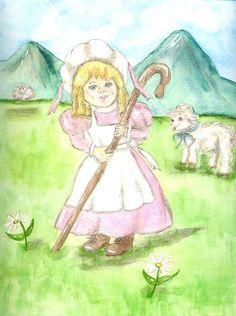 Little Bo Peep Matted Fine Art Print of by ValerieNusbaumAandD