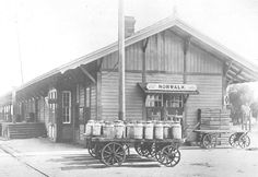 City of Norwalk, California - City Hall  Norwalk Depot was erected in 1879 and Front Street was established as the center of town. This photo was taken in 1910.