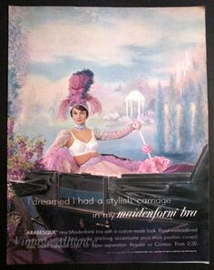 maidenform lingerie ads | Vintage 1961 Maidenform Lingerie Lovely Lady in Old Carriage Romantic ...