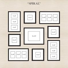 Spiral - Start by placing the center frame, then spiral out the other frames. Make sure there is an even amount of space between all of the other frames and the center frame.
