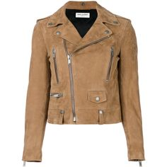 Saint Laurent suede biker jacket (€3.545) ❤ liked on Polyvore featuring outerwear, jackets, brown, moto jackets, cropped jackets, brown cropped jacket, suede leather jacket and brown suede jacket