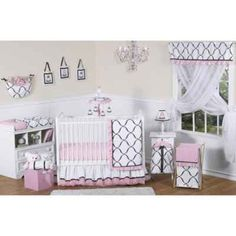 product image for Sweet Jojo Designs Princess 11-Piece Crib Bedding Set in Black/White/Pink $189.99