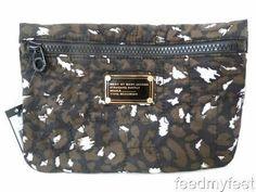Marc by Marc Jacobs Pretty Nylon Animal Print Black Case Cosmetic Bag Pouch