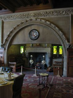 Cragside House, built by Lord Armstrong in Northumberland UK, features a striking fireplace inglenook,