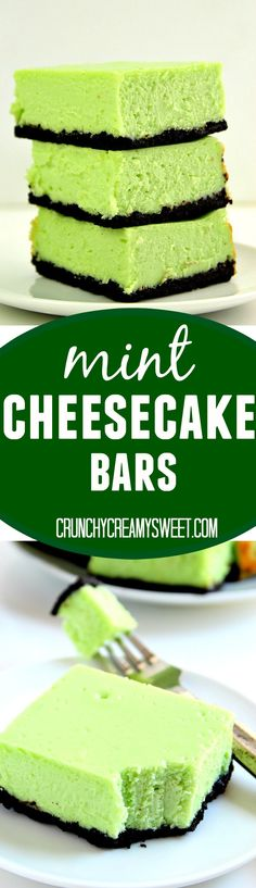 "Mint Cheesecake Bars Recipe€"" thick and creamy cheesecake bars with refreshing mint flavor and chocolatey Oreo crust. So easy, you will love each and every bite!"