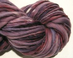 Handspun Yarn Thick n Thin bulky yarn Almost Solid  Amethyst 108 yards knitting supplies crochet supplies waldorf doll hair