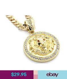 """Chains, Necklaces & Pendants Mens 14K Gold Plated 30"""" Cuban Chain Lion Face Red Eyes Pendant Necklace #ebay #Fashion"""