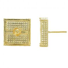 .925 STERLING SILVER 14K GOLD FINISH YELLOW MICRO PAVE CZ 15 MM CUBE EARRING