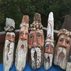 #BeachArt #StadiumArtWalk #villagecraftsdenisewilliams #DriftwoodSanta  the second group of ( almost ) finished driftwood Santa's !