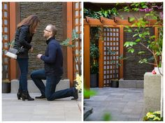 Man proposing in Spring Prelude Garden