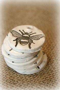 Vintage Bee Stamped Clay Tags Set of 6 by VintageSkye on Etsy
