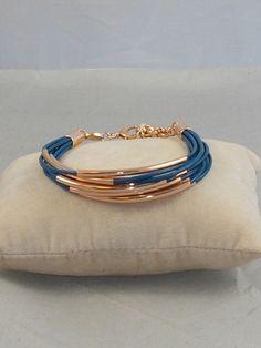 Fossil Brand Rose Gold SUMMER Blue Leather Tube Beaded Bracelet JA6692 791 $48 #Fossil #Beaded