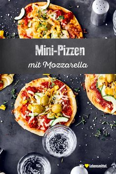 Mini-Pizzen As finger food for the children's birthday party, a quick dinner or a snack for a picnic: mini-pizzas are ideal for conjuring up various delicacies from a dough pizza birthday beef recipes healthy Gourmet Recipes, Vegetarian Recipes, Snack Recipes, Dinner Recipes, Healthy Recipes, Pizza Recipe Without Oven, Vegetable Pizza Recipes, Pasta Facil, Mini Pizzas