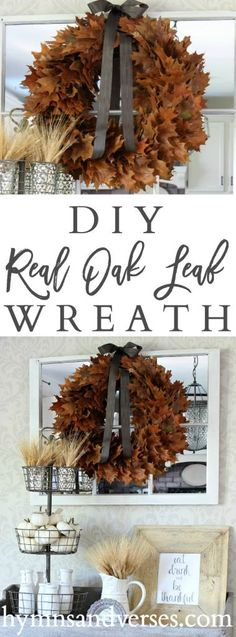 Real Oak Leaf Wreath - Hymns and Verses
