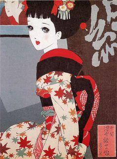 Junichi Nakahara's wood-block print. ukiyoeyanomusume.jpg (480×654)