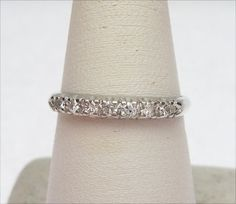Plat 16pts Diamond Wedding Band by KlinesJewelry on Etsy