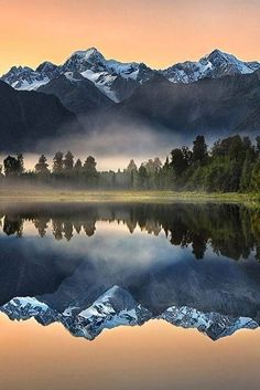 New Zealand: Lake Matheson (aka Mirror Lake), near the Fox Glacier in South Westland. Famous for its reflected views of Aoraki / Mount Cook & Mount Tasman. Wonderful Places, Beautiful Places, Landscape Photography, Nature Photography, Photography Tips, Mirror Lake, Nature Scenes, Science And Nature, Amazing Nature