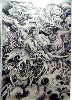 japanese with tattoos Dragon Tattoo Art, Japanese Dragon Tattoos, Dragon Tattoo Designs, Dragon Art, Tattoo Sketches, Tattoo Drawings, Body Art Tattoos, Sleeve Tattoos, Japanese Snake Tattoo