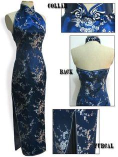 Dmart7deal Halter Cheongsam Long Qipao Backless Costume Dress Mujeres Vestido