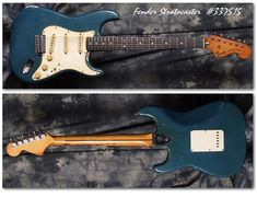 Here is a very cool early strat in Lake Placid Blue! The guitar has seen some wear and tear and has a bit of neck and body damage due to dampness but it plays really well and has a wonderful vibe. Fender Stratocaster, Fender Guitars, Guitar Power Chords, Fendi, Lake Placid Blue, Vintage Electric Guitars, Cheap Guitars, Learn Faster, Guitar For Beginners