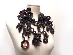 Crochet Lariat Necklace  Freeform Scarflette  Charcoal by ixela