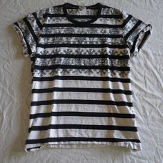 ~ COMME DES GARCONS BLACK / WHITE STRIPED TEE SHIRT / TOP (OFF DUTY COOL!) M #CommeDesGarcons #TSHIRT