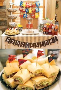 """"""" Twin Boys' Football Birthday Party // Hostess with the Mostess® """"Gametime!"""" Twin Boys' Football Birthday Party // Hostess with the Mostess®,Sports Themed Birthdays football birthday party concessions stand with lunch Related posts: -. Hockey Birthday Parties, Hockey Party, Sports Theme Birthday, Basketball Party, Football Birthday, Birthday Ideas, 9th Birthday, Sports Theme Baby Shower, Football Baby Shower"""