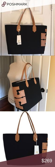 """💖PRICE FIRM💖Tory Burch Stacked T tote New with tags! Tory Burch Canvas Stacked T EW Tote Canvas with vachetta leather trim. Open top; magnetic snap closure. Signature stacked-""""T"""" logo design at side. Inside, one zip and two open pockets. 14""""L x 11 1/2""""H x 18""""W x 6""""D; Strap Drop: 8"""". The perfect tote for every day! 💯Authentic!! PRICE IS FIRM. Tory Burch Bags Totes"""