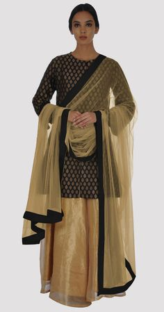 Black Handwoven Banarasi Zari Jacket With Gold Pure Tissue Skirt