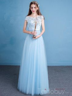 キャップスリーブビーズクリスタルフラワーAラインイブニングドレス