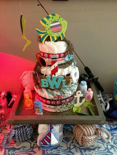 The nautical diaper cake and serving tray I did for my sister's baby shower (with help from my parents and Casie)