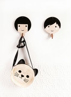 Children's wooden wall hooks - Black haired girl by Red Hand Gang