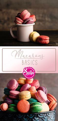 Macarons -Sallys Basic Rezept! Die Macaronschalen bestehen aus nur wenigen Zutaten: Eiweiß, Zucker und Mandeln. Mit den richtigen Tipps gelingen sie perfekt wie in Paris! Der Geschmack kommt dabei alleine durch die verschiedenen Füllungen. Die ganze Vielfalt an neuen Rezepten gibt es auf Sallys Welt@sallyswelt #macarons #basicmacarons #backen #french #café #kaffee #sallyswelt #sally #bakery #petite #sweet #coffee #dessert #foodphotography #food #colours #colourful #farbig