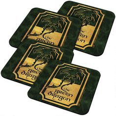One of my favorite discoveries at HobbitShop.com: The Lord of the Rings Green Dragon Coaster Set