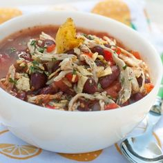 Chicken Taco Soup  This looks good. Would use black beans instead of kidney beans, though.