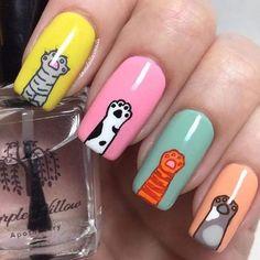 Stylish Nails, Trendy Nails, Cat Nail Designs, Nail Designs For Kids, Nail Drawing, Animal Nail Art, Cat Nail Art, Nagellack Design, Kawaii Nails