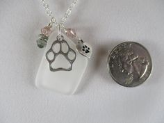 white sea glass necklace, paw print necklace, pet lovers necklace, beach necklace, love my dog cat necklace, pet jewelry, pet memorial gift by Serenebaysidejewelry on Etsy