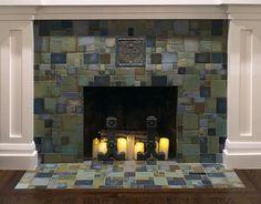 Rehm Fireplace by Pasadena Craftsman Tile at Private Residence, Tampa, FL Craftsman Tile, Craftsman Fireplace, Craftsman Interior, Custom Fireplace, Home Fireplace, Fireplace Hearth, Craftsman Decor, Craftsman Homes, Fireplace Tile Surround