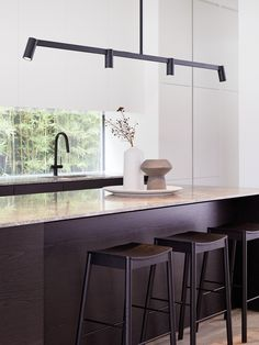 Kitchen Lighting Remodel LEDlux Panorama 4 Light Long Pendant in Black - Kitchen Island Bench - Kitchen Lighting Fixtures, Kitchen Pendant Lighting, Kitchen Pendants, Modern Pendant Light, Bedside Pendant Lights, Dining Pendant, Island Pendants, Chandelier, Black Kitchen Island