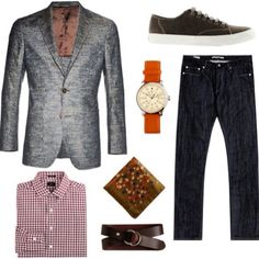 How casual of an outfit can one wear a #pocket-square with! Your tip for #Dapper Monday