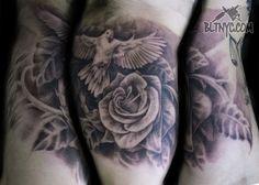 Black and Gray Dove and Rose Tattoo by Nicole at Body Language Tattoo Shop NYC #rosetattoo #flowertattoo #blackandgraytattoo #birdtattoo
